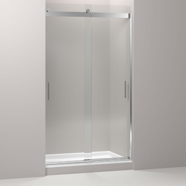 Levity 47.63 x 82 Double Sliding Shower Door with Blade Handles with CleanCoat® Technology by Kohler