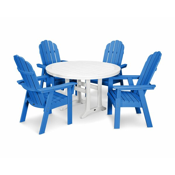 Vineyard Adirondack Nautical Trestle 5 Piece Dining Set by POLYWOOD®