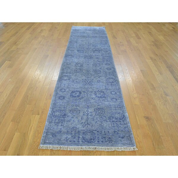 One-of-a-Kind Bean Tabriz Handwoven Grey Wool/Silk Area Rug by Isabelline