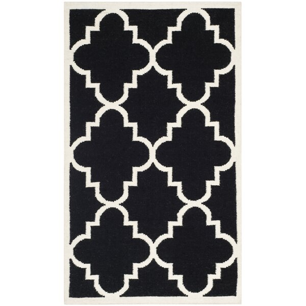 Dhurries Hand-Woven Wool Black/Ivory Area Rug by Safavieh