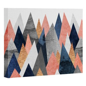 Pink and Navy Peaks Graphic Art on Wrapped Canvas by East Urban Home