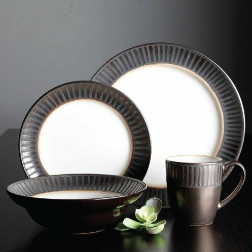 Gibson 16 Piece Dinnerware Set, Service for 4 by ABC Home Collection