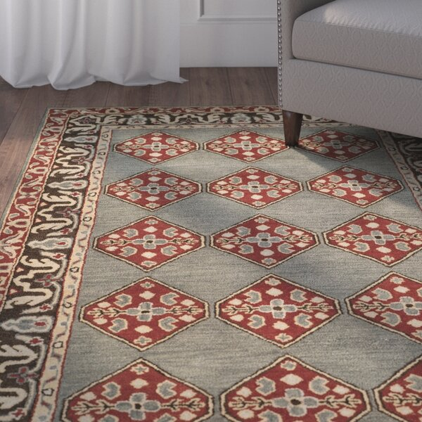Cranmore Hand-Tufted Gray/Red Area Rug by Charlton Home