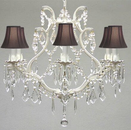 Clemence 6 - Light Shaded Empire Chandelier By Rosdorf Park