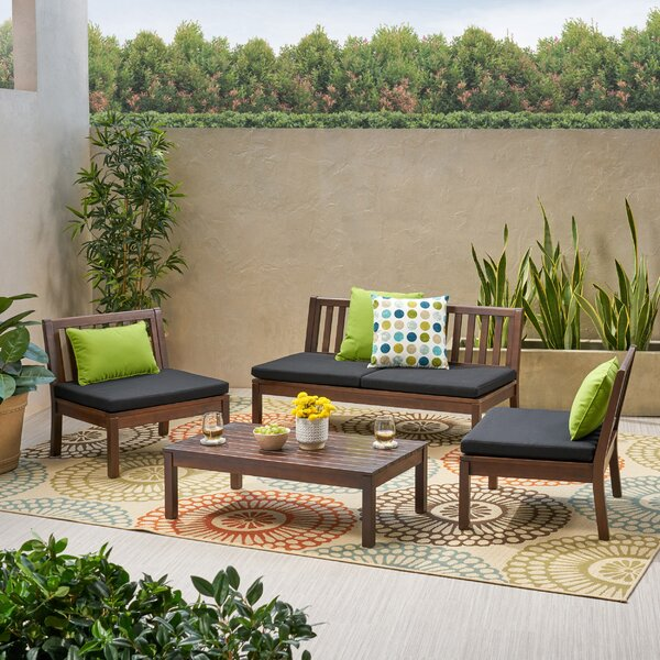 Yancy Outdoor 4 Piece Sofa Seating Group with Cushions by Wrought Studio