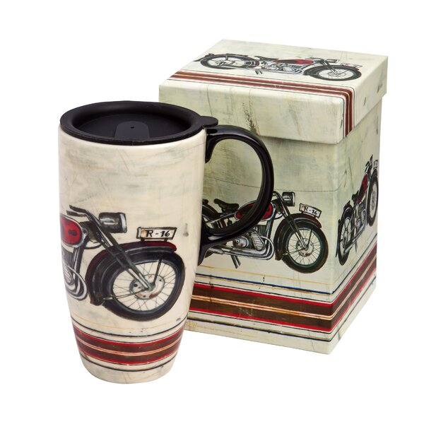 Motorcycle Madness Boxed Ceramic Travel Latte Cup by Cypress Home