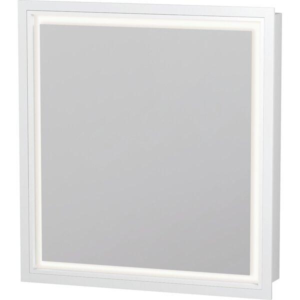 L-Cube Recessed Framed 1 Door Medicine Cabinet with 2 Shelves and LED Lighting