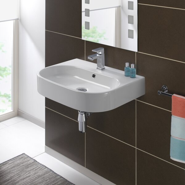 Pro Vitreous China 24 Wall Mount Bathroom Sink with Overflow by Bissonnet