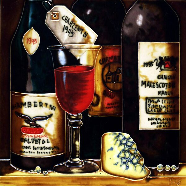 3 Wine Bottles and Cheese Tile Wall Decor by Continental Art Center