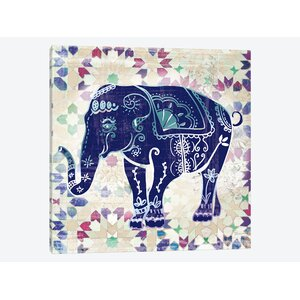 Painted Elephant II Painting Print on Wrapped Canvas by East Urban Home