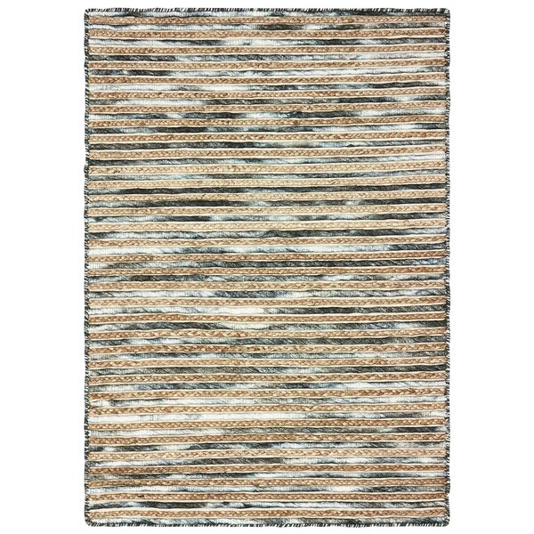 Vitagliano Striped Hand-Tufted Charcoal/Beige Area Rug by Millwood Pines