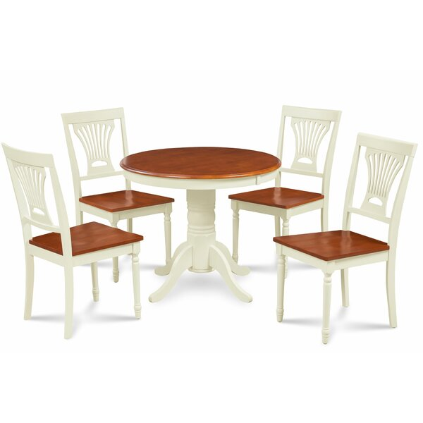 Kelston Mills Solid Wood 5 Piece Solid Wood Dining Set by Alcott Hill