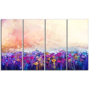'Abstract Flower Watercolor' 4 Piece Painting Print on Wrapped Canvas Set by Design Art