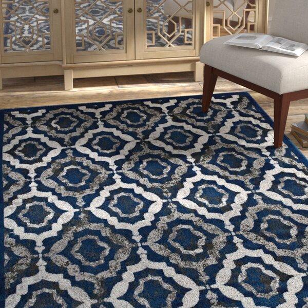Nolasco Trellis Moroccan Blue/Gray Area Rug by Bloomsbury Market