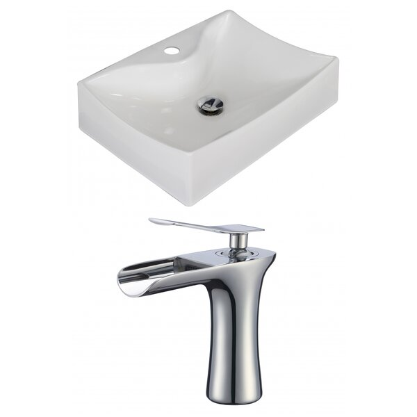 Ceramic 7 Wall Mount Bathroom Sink with Faucet and Overflow by American Imaginations