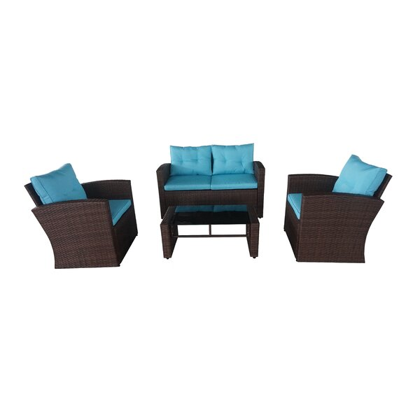 Crosson 4 Piece Rattan Sofa Seating Group with Cushions by Ivy Bronx
