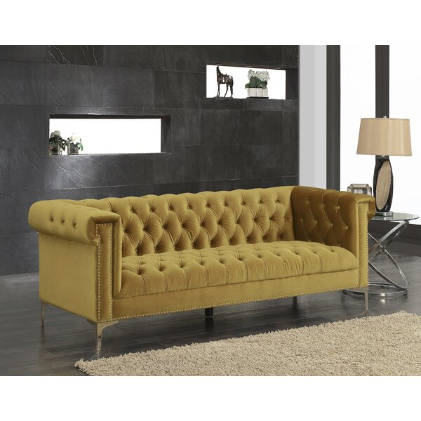 Modern Collection Batts Polyester Chesterfield Sofa by Mercer41 by Mercer41