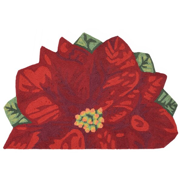 Calderon Poinsettia Hand-Tufted Red Indoor/Outdoor Area Rug by August Grove