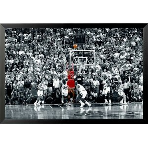 'Michael Jordan - the Last Shot Sports - NBA Chicago Bulls Superstar Legend Black and White Crowd' Framed Photographi... by Latitude Run