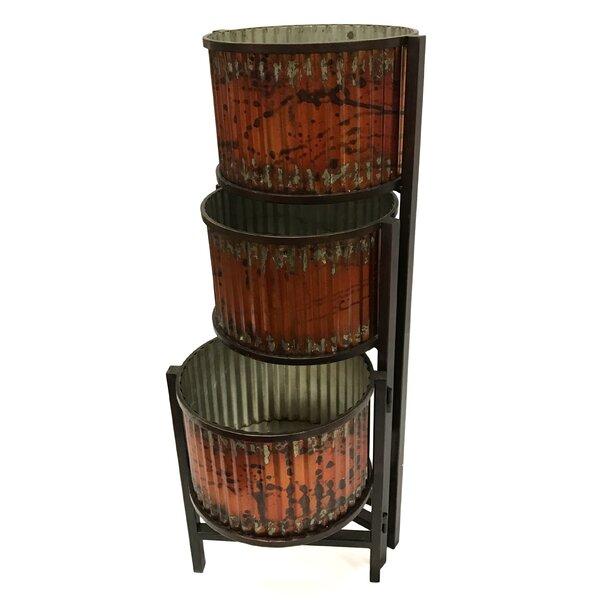 Folding Triple Floor Metal Pot Planter by Wilco Home