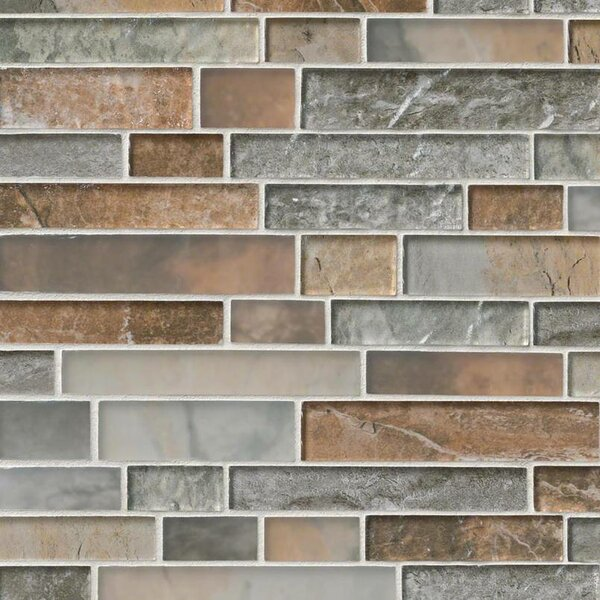 Taos Interlocking Pattern Random Sized Glass Tile in Brown/Gray by MSI