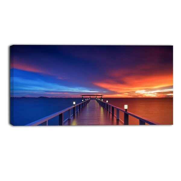 Wooden Pier Seascape Photographic Print on Wrapped Canvas by Design Art