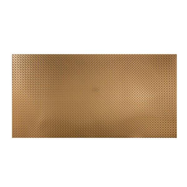 Diamond Plate 48 x 96 PVC Backsplash Panel in Polished Copper by Fasade