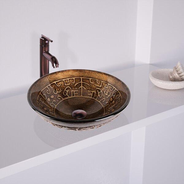 Golden Greek Glass Circular Vessel Bathroom Sink with Faucet by VIGO