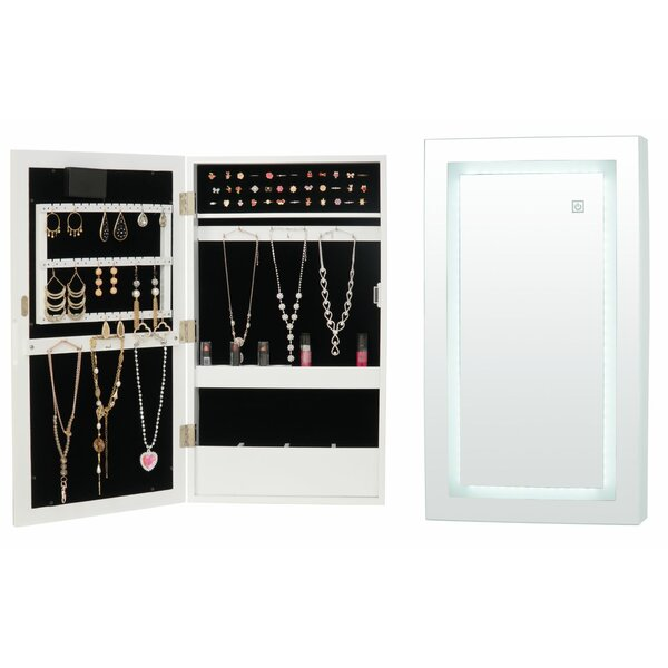 Kanye LED Wall Mounted Jewelry Armoire with Mirror by Rebrilliant