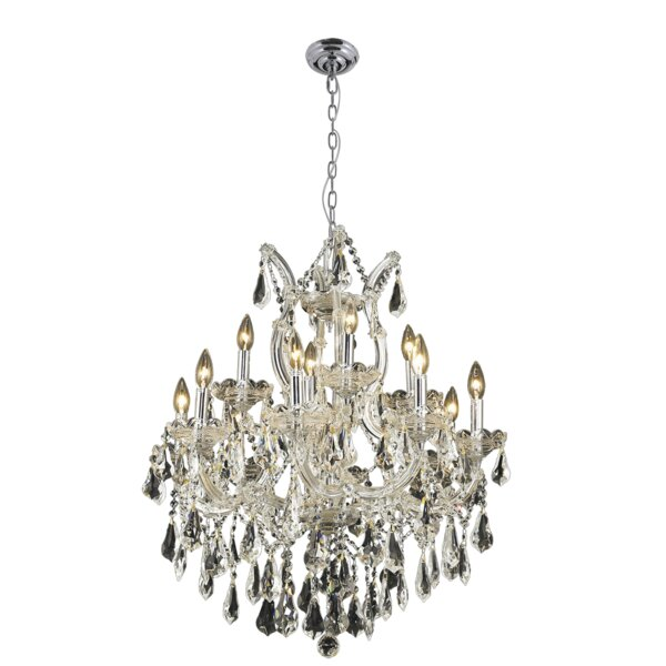 Trappe 13 - Light Candle Style Empire Chandelier with Crystal Accents by Rosdorf Park Rosdorf Park