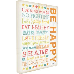 Stella Be Happy Kids Typography Canvas Wall Art by Viv + Rae