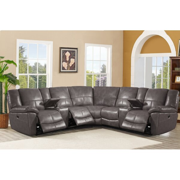 #2 Winkfield Leather Reclining Sectional By Latitude Run Great Reviews