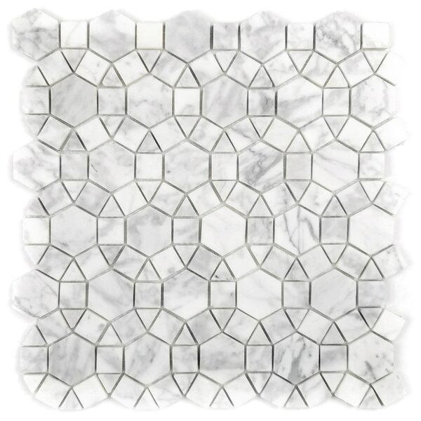Tuscany Hexagon Random Sized Marble Mosaic Tile in Beige by Abolos