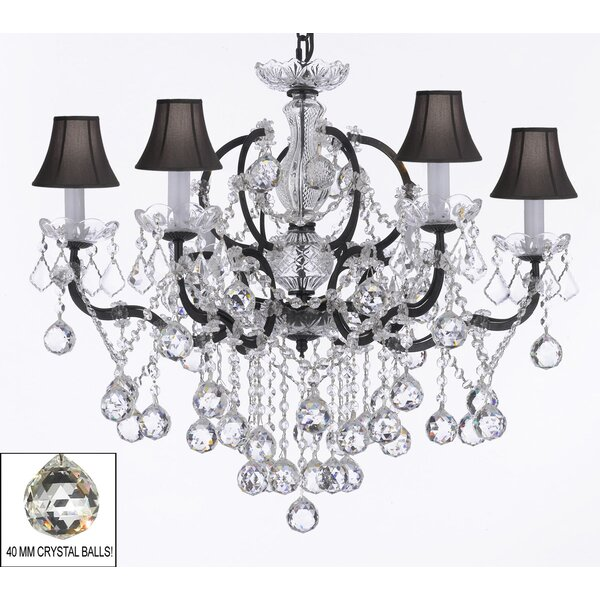 Clemence 6-Light Black Shade Shaded Chandelier by Rosdorf Park