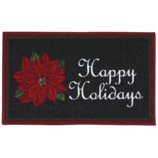 Happy Holidays Black Area Rug ByThe Holiday Aisle