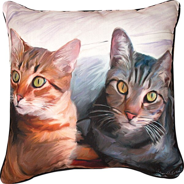 Sweepo & Toney 2 Cats Throw Pillow by Manual Woodworkers & Weavers