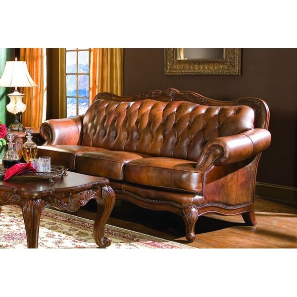 Chretien Leather Sofa by Astoria Grand