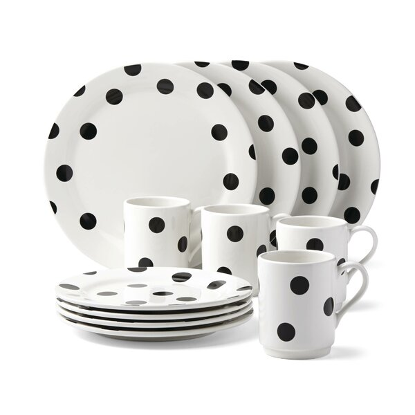 All In Good Taste Deco Dot 12 Piece Dinnerware Set, Service for 4 by kate spade new york
