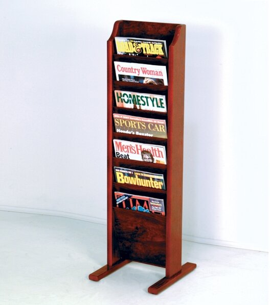 7 Pocket Free Standing Magazine Rack By Wooden Mallet.