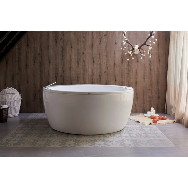 Pamela Spa Jetted 68 x 68 Freestanding Air/Whirlpool Bathtub by Aquatica