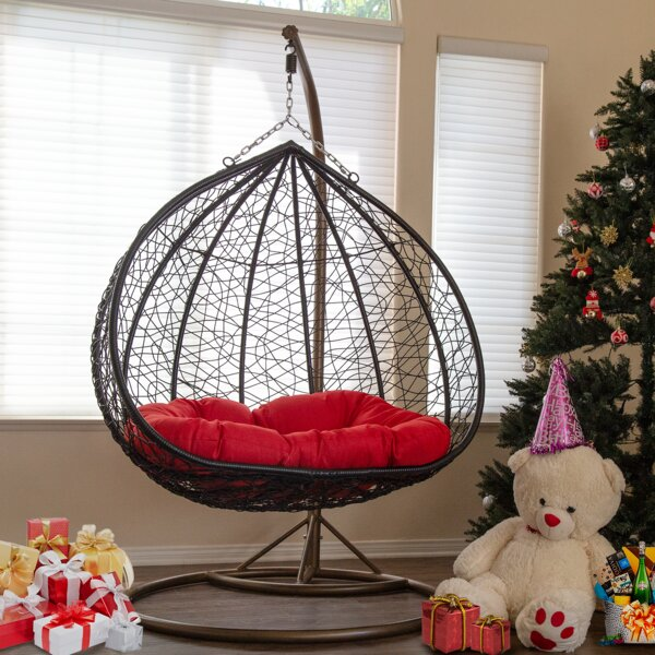 Hawtree Double Swing Chair with Stand by Bungalow Rose Bungalow Rose