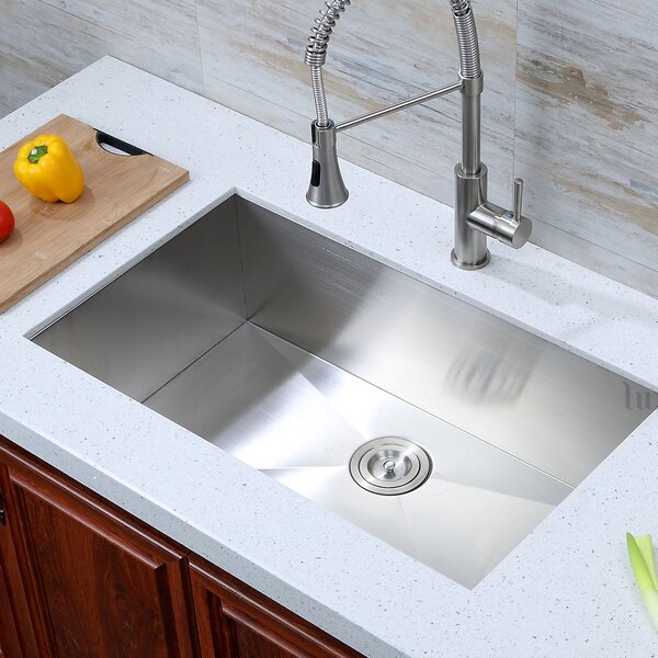 32 L x 19 W Undermount Single Bowl 16 Gauge Stainless Steel Handmade Zero Radius Kitchen Sink by Luxier