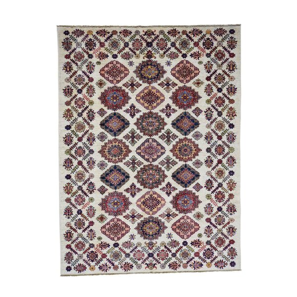 One-of-a-Kind Espada Super Caucasian Oriental Hand-Knotted Ivory Area Rug by Millwood Pines