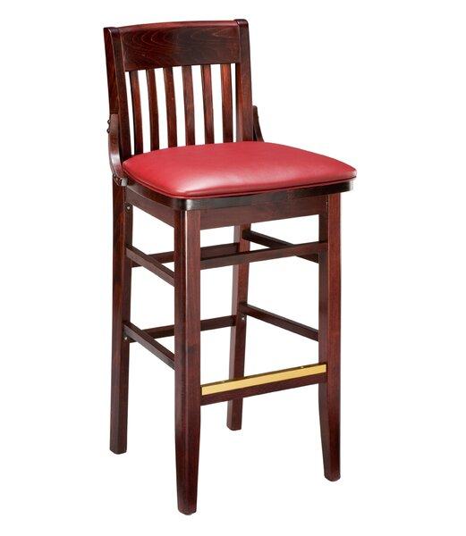 Amoroso Traditional Beechwood School House Upholstered Seat Bar Stool by Red Barrel Studio