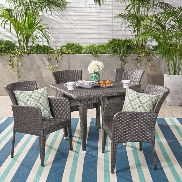 Aarhus Outdoor 5 Piece Dining Set by Bungalow Rose