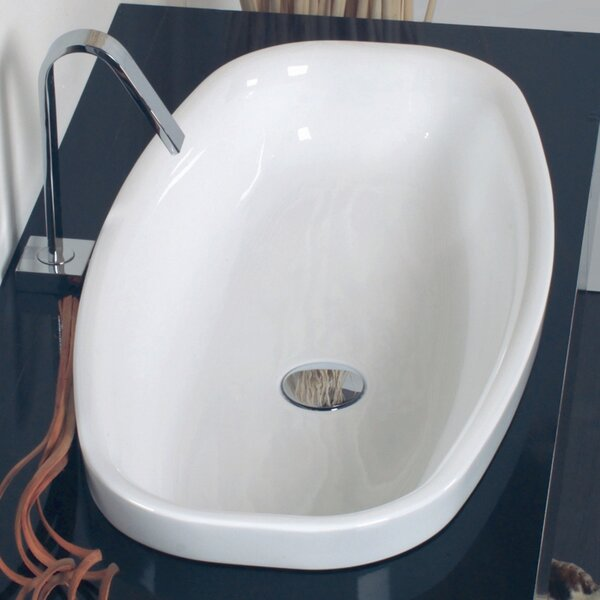 Ceramica Ceramic Oval Vessel Bathroom Sink with Overflow by WS Bath Collections