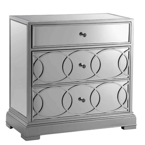 Piero 3 Drawer Mirrored Accent Chest by House of Hampton House of Hampton