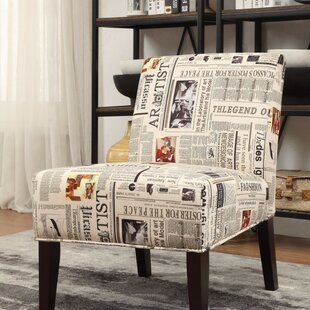 Slocum Newspaper Print Slipper Chair by Ebern Designs