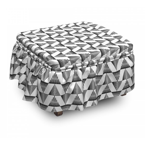 Scribble Boho Ottoman Slipcover (Set Of 2) By East Urban Home