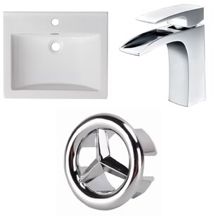 Compare prices 1 Hole Ceramic Rectangular Undermount Bathroom Sink with Faucet and Overflow ByAmerican Imaginations
